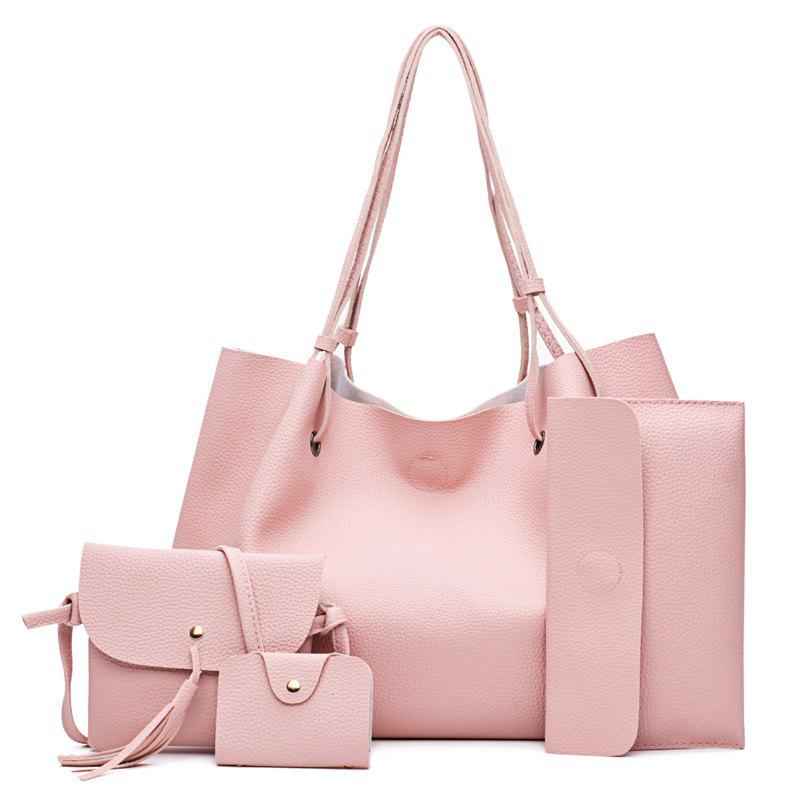 FashionLitchi grain Lady'S Mother Bag Four Pieces of Single Shoulder Cross-Bag - PINK VERTICAL