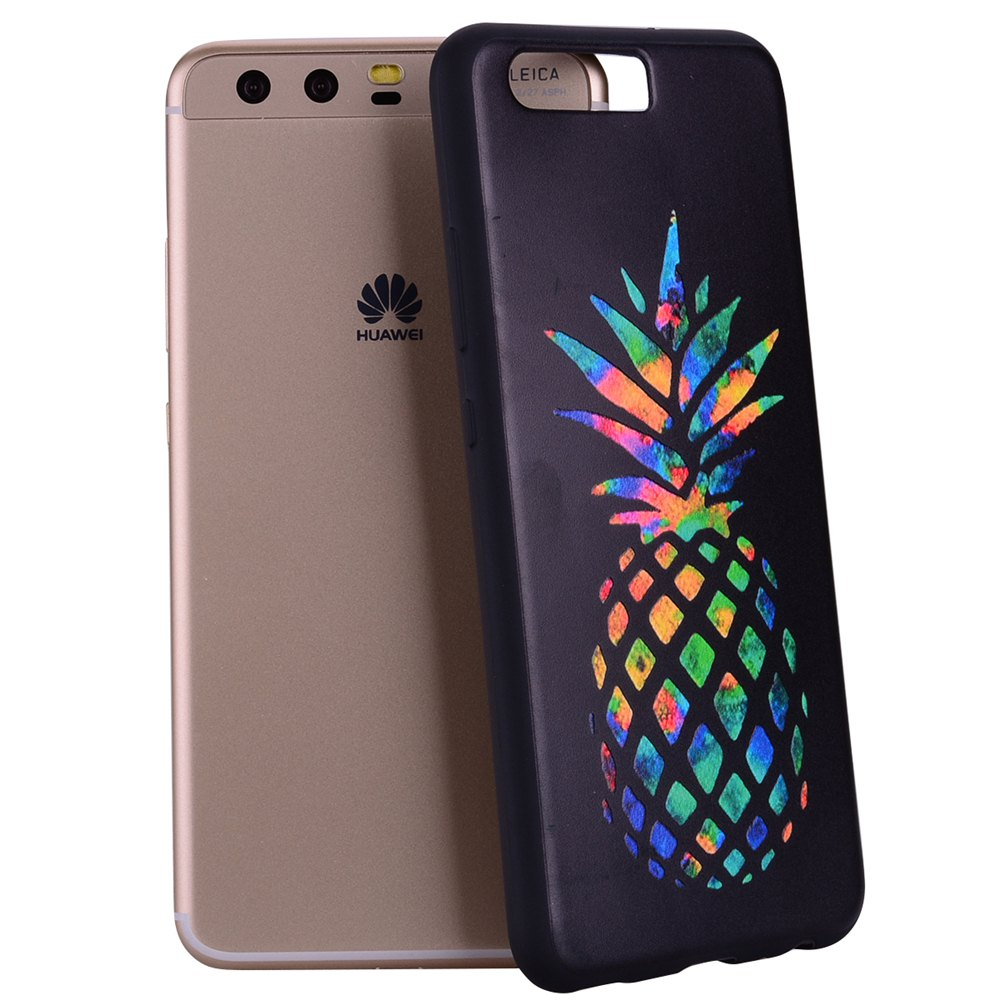 For Huawei P10 Multicolored Pineapple TPU Anti-drop Phone Protection Shell - BLACK