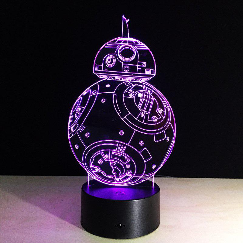YEDUO 7 color Holiday Atmosphere Decorative Kids gift Robot 3D Ilusion Lamp Light Lighting Gadget LED Night Light - multicolor
