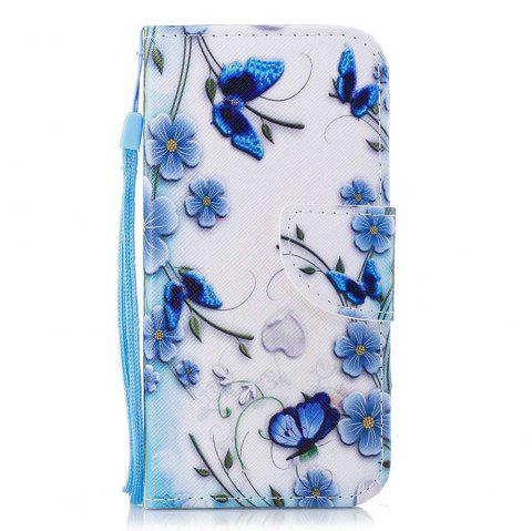 Cover Case for Wiko Lenny 4 Painted PU Phone Case - BLUE / WHITE / BLACK