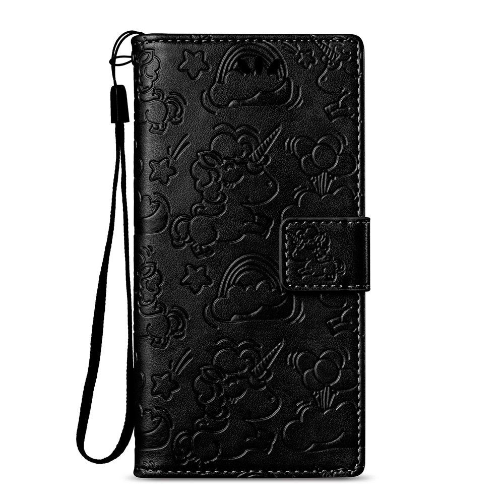 Case Cover for Sony Xperia XZ1 Double Sides Embossed Clouds Leather Shell with Wallet - BLACK