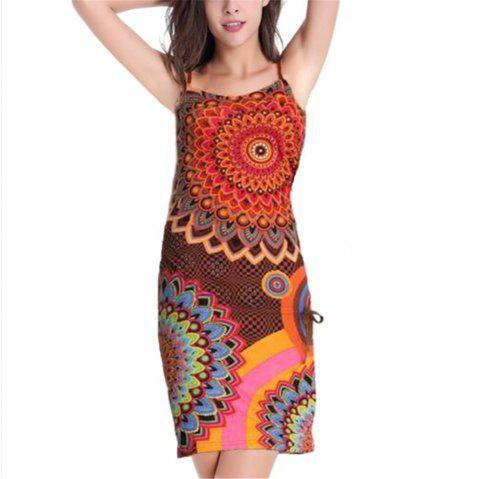 European and American Printed Sling Dress - RED M