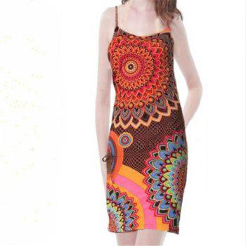 European and American Printed Sling Dress - RED XL