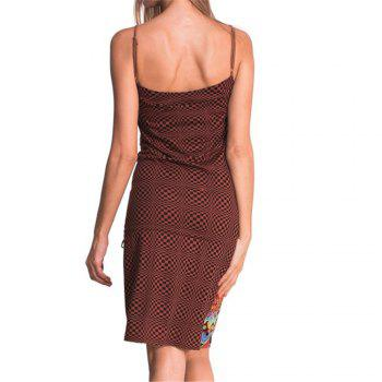 European and American Printed Sling Dress - RED L