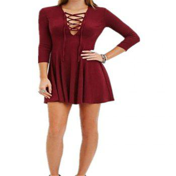 Spring and Autumn Sexy Long Sleeved Dress - RED L