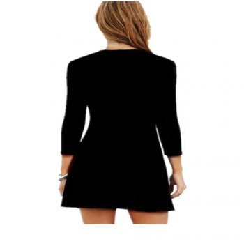 Spring and Autumn Sexy Long Sleeved Dress - BLACK M