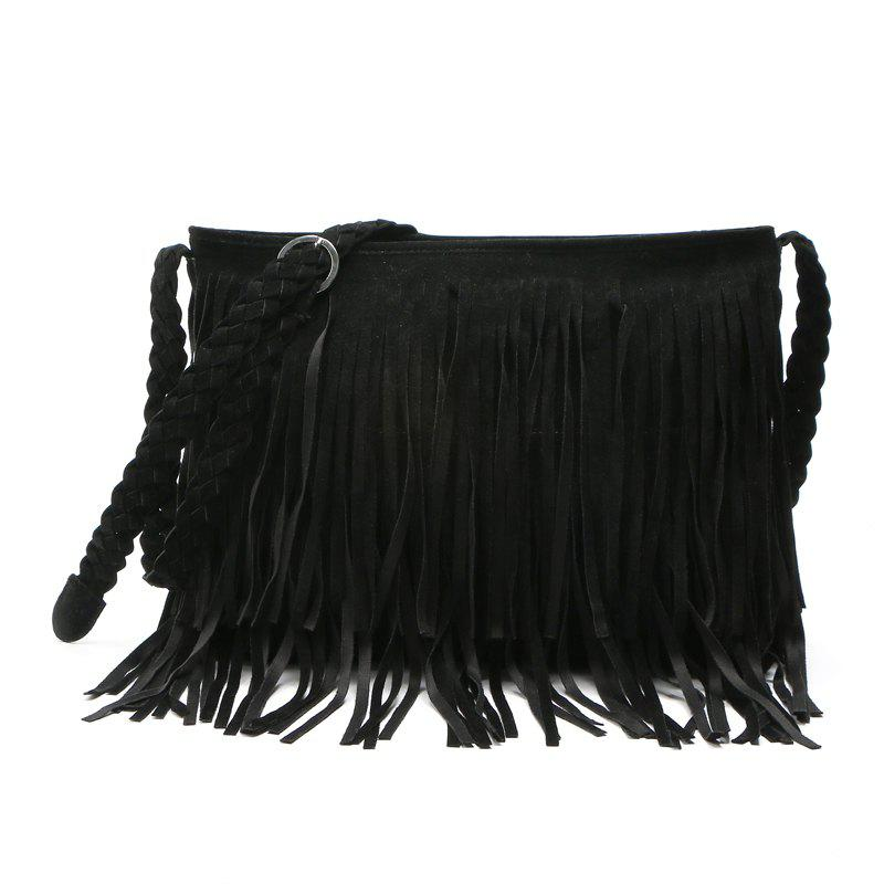 Faux Suede Fringe Tassel Shoulder Bag Women's fashion Handbag Crossbody Bag Messenger Bags Four Colors - BLACK