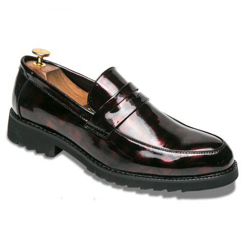 Men Shining Upper Material Leisure Leather Shoes - RED 42