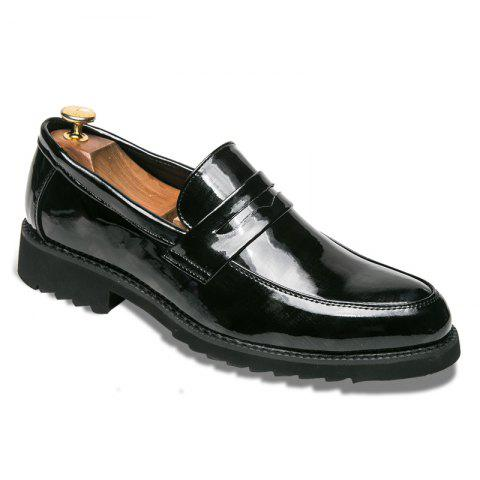 Men Shining Upper Material Leisure Leather Shoes - BLACK 40