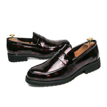 Men Shining Upper Material Leisure Leather Shoes - RED 40