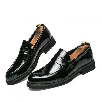 Men Shining Upper Material Leisure Leather Shoes - BLACK 39