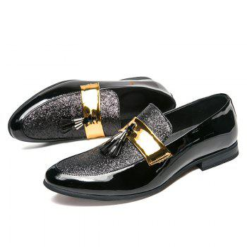 Korean Style Men Fashion Leather Shoes - BLACK 45