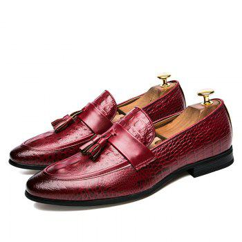 Men Fashion Slip on Leather Shoes - RED 43
