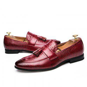 Men Fashion Slip on Leather Shoes - RED 44