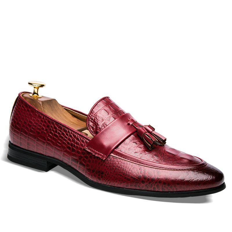 Men Fashion Slip on Leather Shoes - RED 45