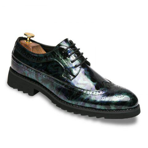 Men Camouflage Leisure Fashion Leather Shoes - BLUE 42
