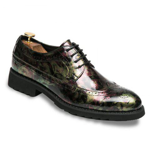 Men Camouflage Leisure Fashion Leather Shoes - GREEN 40