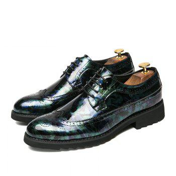 Men Camouflage Leisure Fashion Leather Shoes - BLUE 39