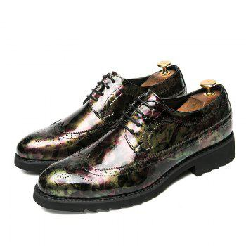 Men Camouflage Leisure Fashion Leather Shoes - GREEN 39