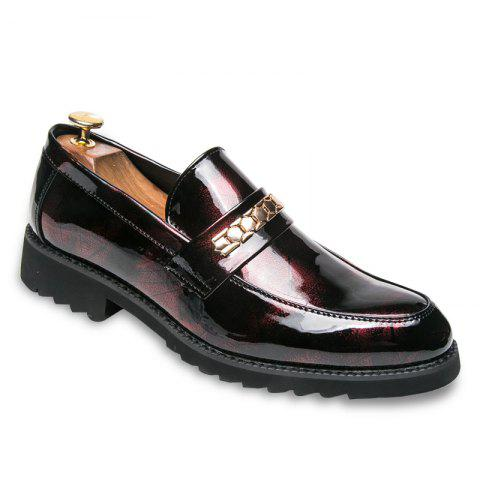 Men Fashion Shining Upper Material Slip on Leisure Leather Shoes - RED 38