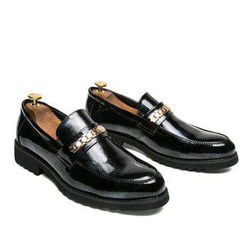 Men Fashion Shining Upper Material Slip on Leisure Leather Shoes - BLACK 39