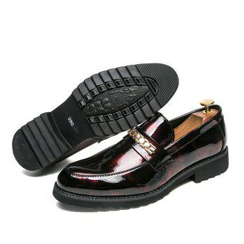 Men Fashion Shining Upper Material Slip on Leisure Leather Shoes - RED 43