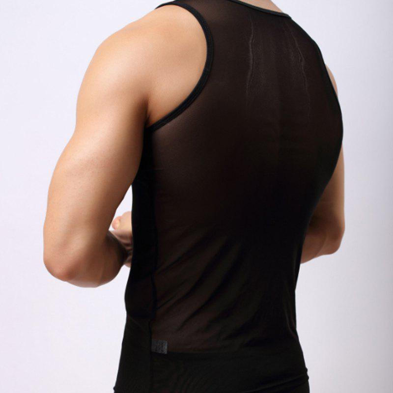 Men's Fashion Sexy Gauze Vest - BLACK XL