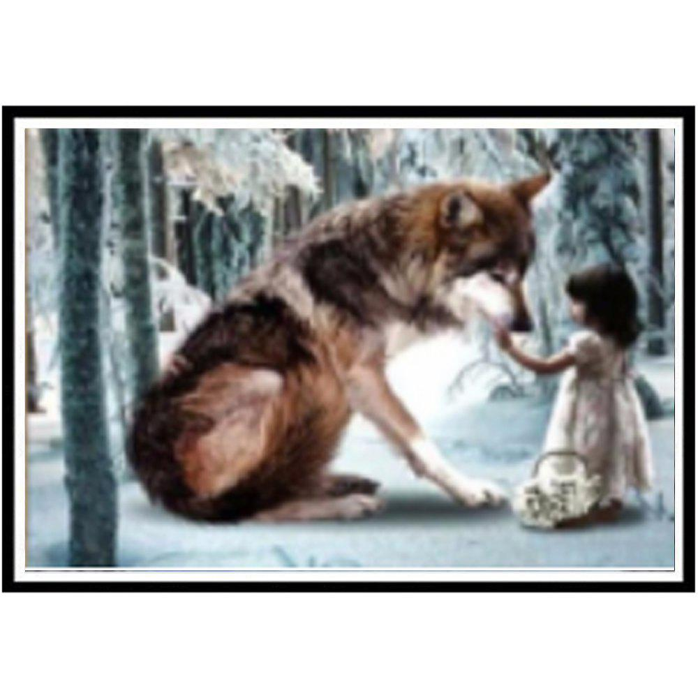 NAIYUE J798 Girl and Wolf Animal Print Draw 5D Diamond Painting Diamond Embroidery