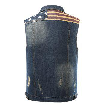 Vogue Pentagram Male Cowboy Vest and Sleeveless Jacket Male - DENIM BLUE L