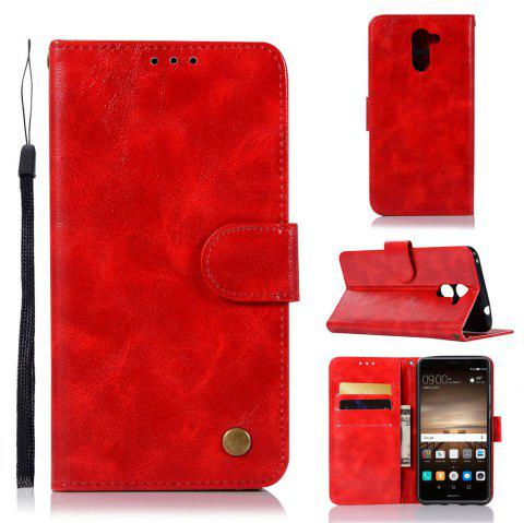 Luxurious Retro Fashion Flip Leather Case PU Wallet Cover Cases For Huawei Y7 2017 Smart Cover 5.5 Phone Bag with Stand - RED