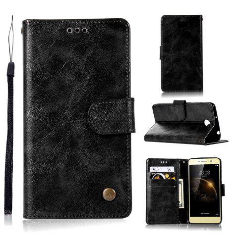 Luxurious Retro Flip Leather Case PU Wallet Cover Cases For Huawei Y5 II / Honor 5 Play / Honor 5 Phone Bag with Stand - BLACK