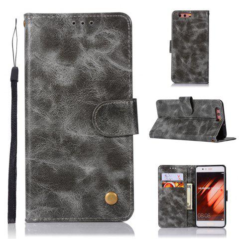 Flip Leather Case PU Wallet Case For Huawei P10 Plus Smart Cover Extravagant Vintage Fashion Phone Bag with Stand - GRAY