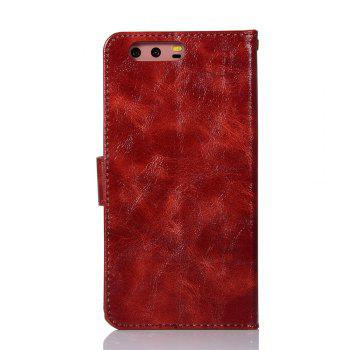 Flip Leather Case PU Wallet Case For Huawei P10 Plus Smart Cover Extravagant Retro Fashion Phone Bag with Stand - WINE RED