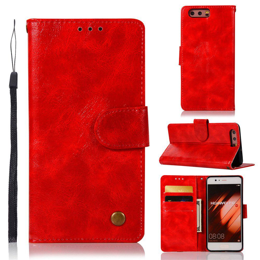 Flip Leather Case PU Wallet Case For Huawei P10 Smart Cover Extravagant Retro Fashion Phone Bag with Stand - RED
