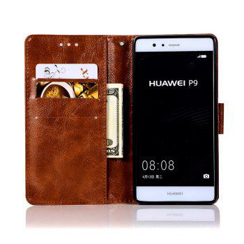 Flip Leather Case PU Wallet Case For Huawei P9 Smart Cover Extravagant Retro Fashion Phone Bag with Stand - BROWN