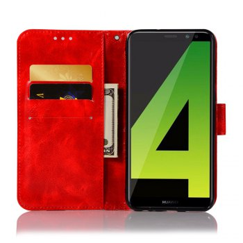 Flip Leather Case PU Wallet Case For Huawei Maimang 6 / Huawei Honor 9I Smart Cover Retro Fashion Phone Bag with Stand - RED