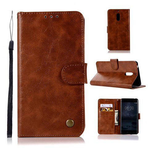 Flip Leather Case PU Wallet Case For Nokia 6 Smart Cover Extravagant Vintage Fashion Phone Bag with Stand - BROWN