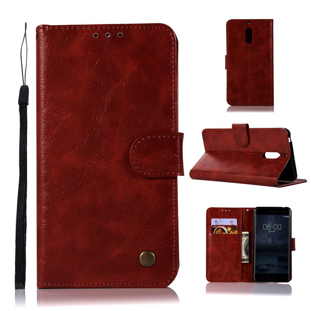 Flip Leather Case PU Wallet Case For Nokia 6 Smart Cover Extravagant Retro Fashion Phone Bag with Stand - WINE RED