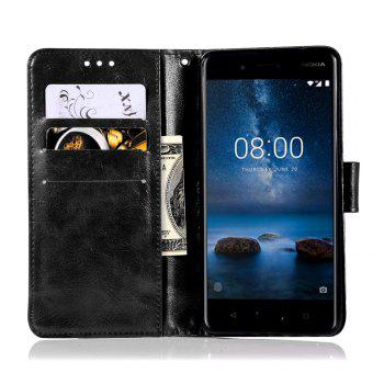 Flip Leather Case PU Wallet Case For Nokia 8 Smart Cover Extravagant Retro Fashion Phone Bag with Stand - BLACK