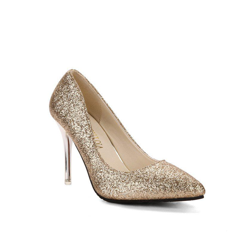 New High Heel Shoes and Autumn Shoes Golden Pointed Wedding Shoes