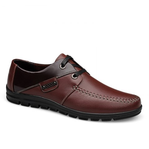 Autumn Winter Men Luxury Genuine Leather Plus Size Formal Office Business Dress Shoes - BROWN 38