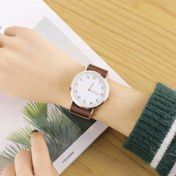Geneva Fashion Personality Number Leather Ultrathin Quartz Watch - COFFEE / WHITE