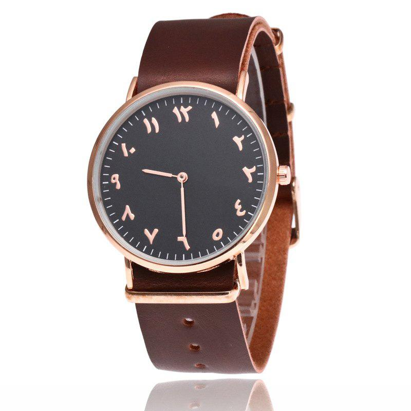 Geneva Fashion Personality Number Leather Ultrathin Quartz Watch - COFFEE/BLACK
