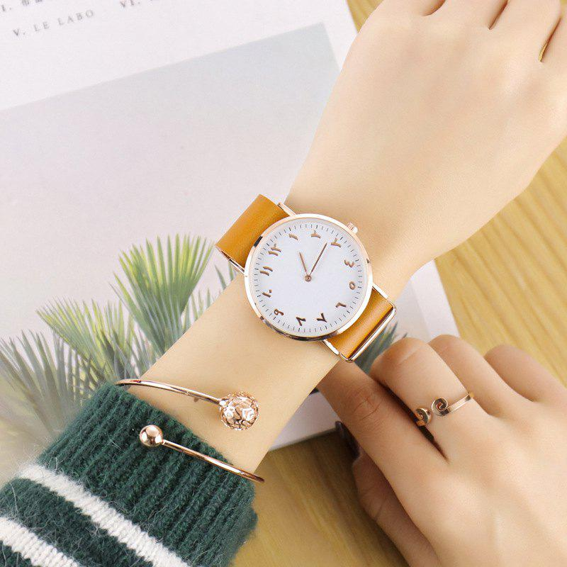 Geneva Fashion Personality Number Leather Ultrathin Quartz Watch - LIGHT COFFEE
