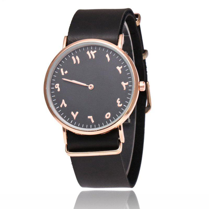 Geneva Fashion Personality Number Leather Ultrathin Quartz Watch - BLACK BAND BLACK DIAL