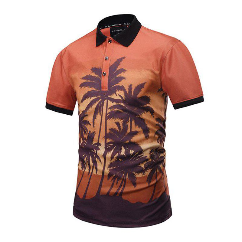 Summer New 3D Creative Coconut Forest Fashion Trend POLO Shirt new summer