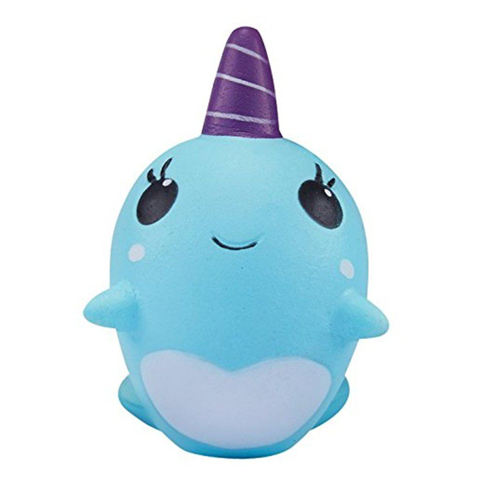 Decompression Toys Soft Cute Whale Cartoon Squishy Slow Rising Squeeze Toy Christmas Gift - BLUE