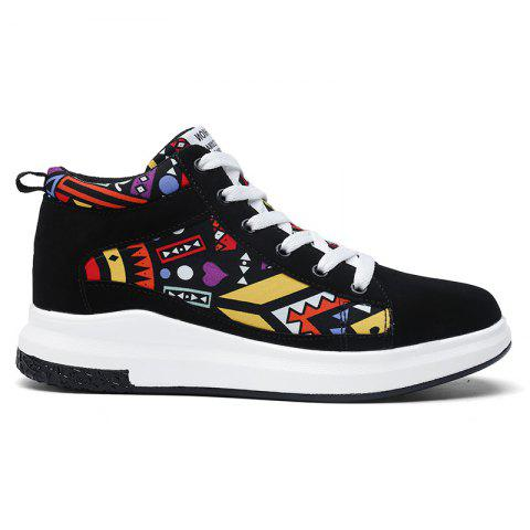 The New Couple Lovers Canvas Shoes - BLACK/ORANGE 37