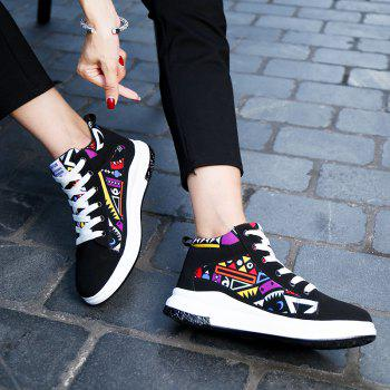 The New Couple Lovers Canvas Shoes - BLACK/ORANGE 42