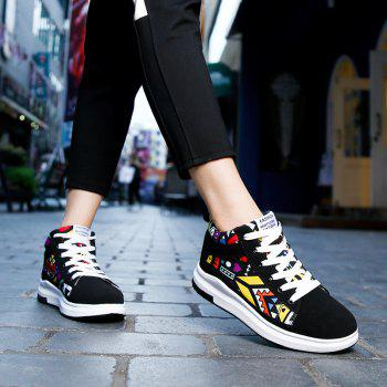 The New Couple Lovers Canvas Shoes - BLACK/ORANGE 38